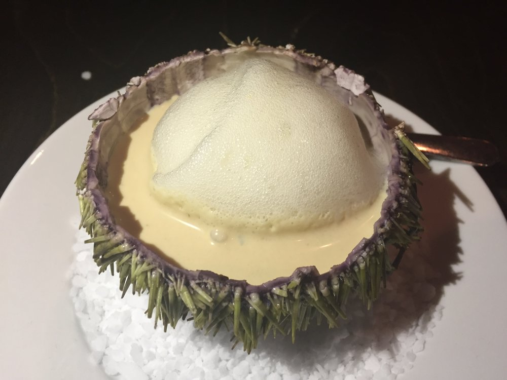 Sea urchin with a garlic, onion foie gras cream