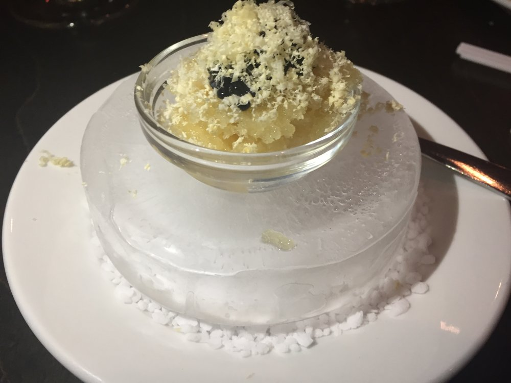 Maple syrup granite, Mujol (Spanish herring) caviar served with foie gras snow