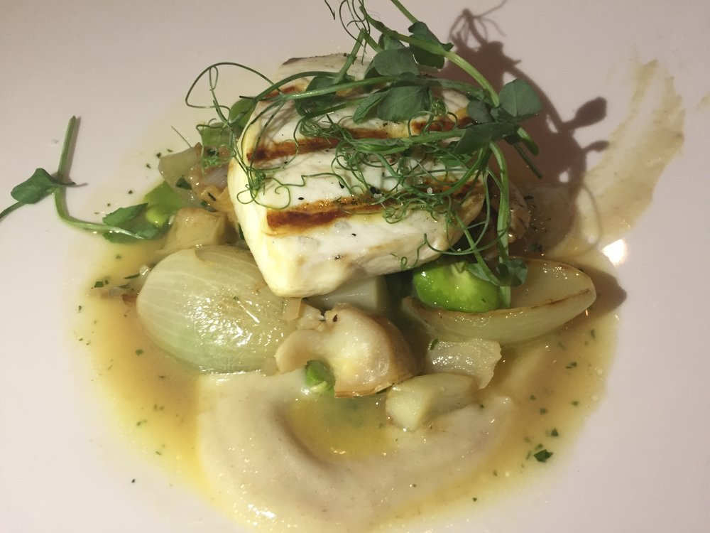 SABLEFISH: Samos and miso roasted sablefish, turnips, porcini mushrooms, mushroom flavored dashi and mushroom broth.