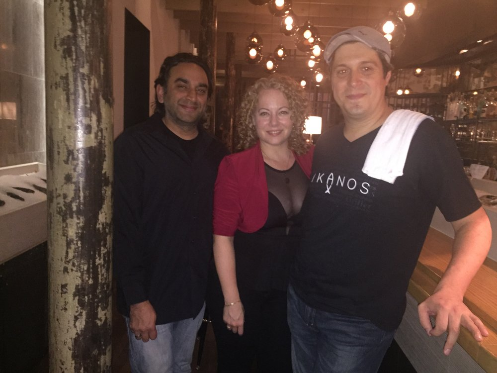 Jay Kana, Brigitte Hasbron and Chef-Owner Constant Mentzas