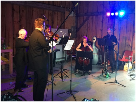 Quintet – Clarinet and String quartet in the Riverwood barn in 2016 as part of the Summer Concert series