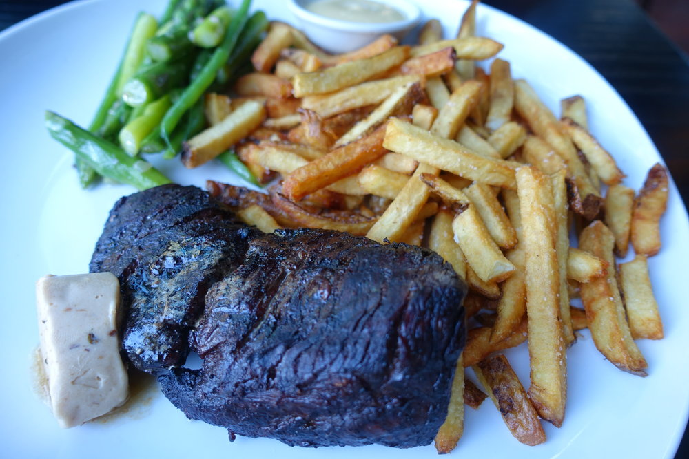 Hanger steak with green beans, asparagus, fries and miso butter
