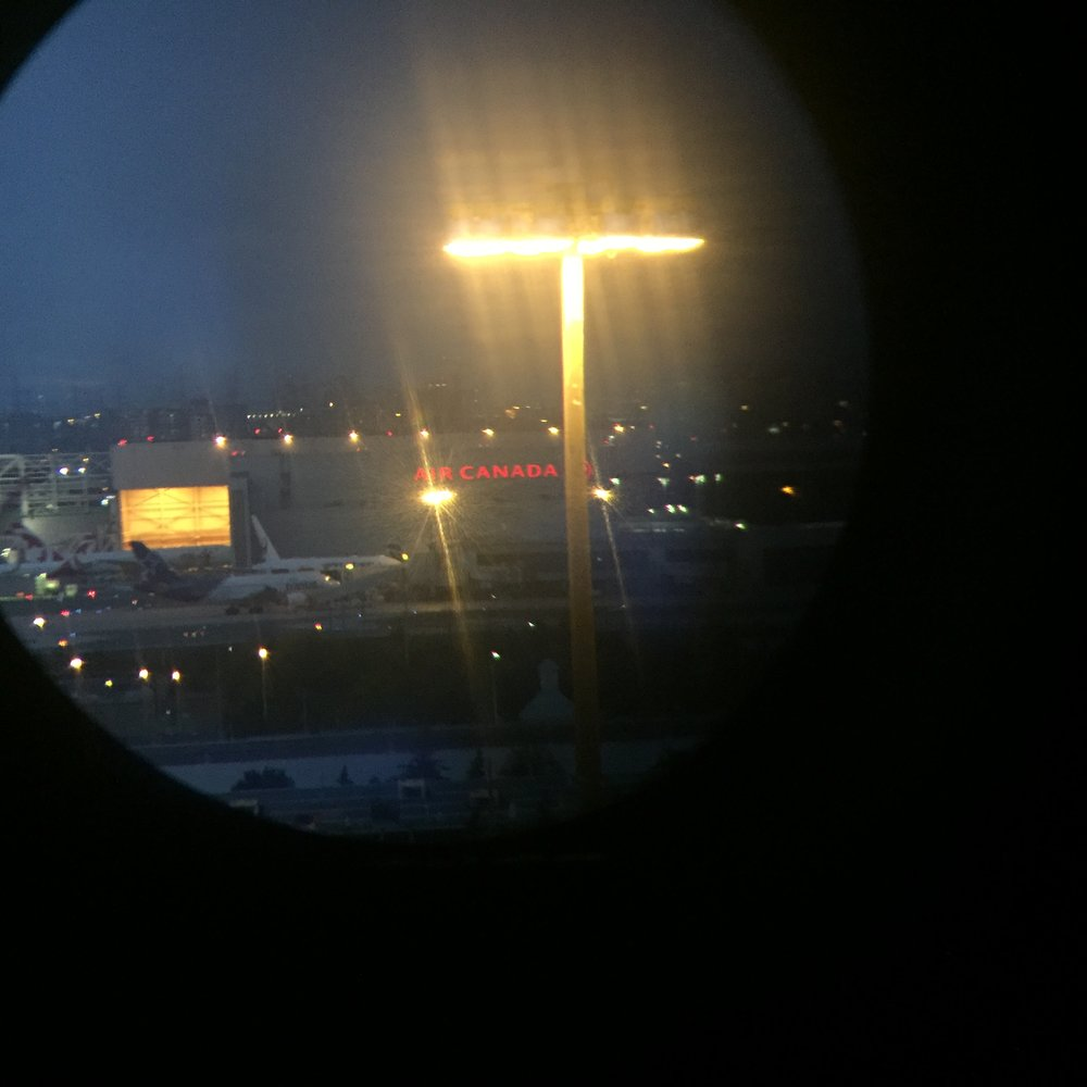 A look through the high-powered binoculars, free for use on site.