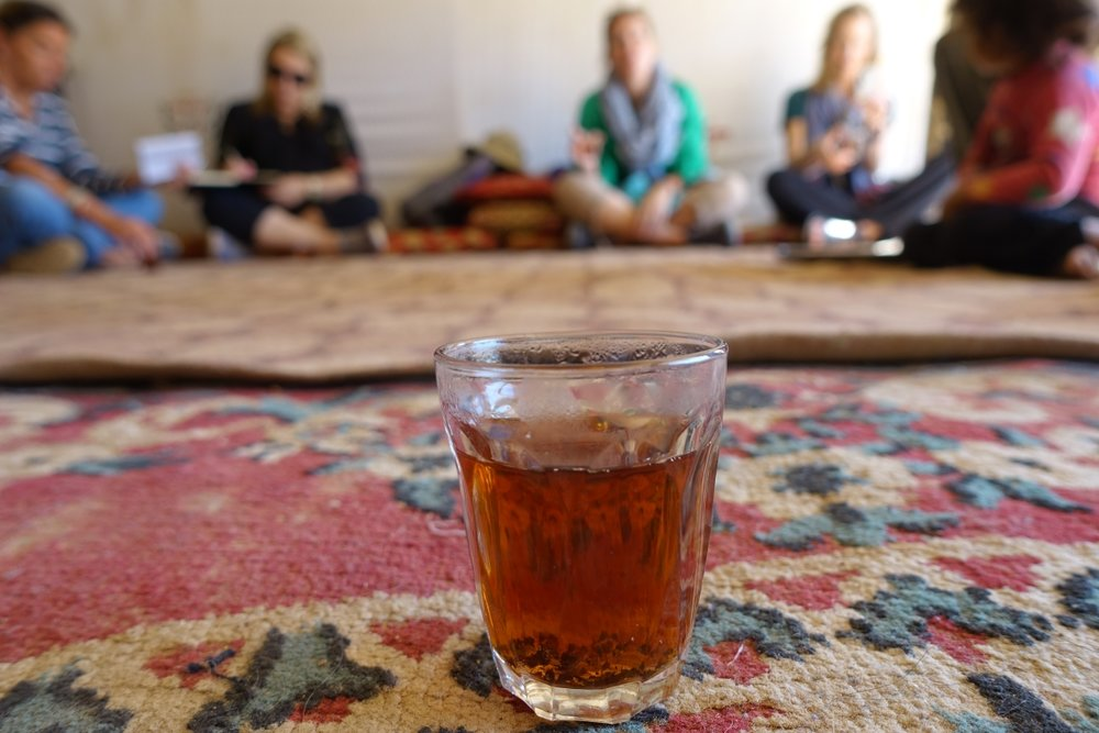 Learning coffee traditions in a local Bedouins tent @ Brigitte Hasbron
