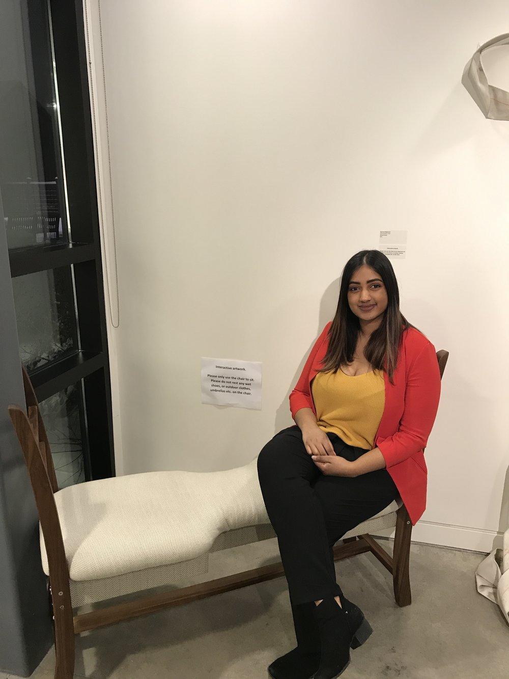 Semone Rajkumar's Conversation Chair. A custom-built bench made to facilitate conversation.