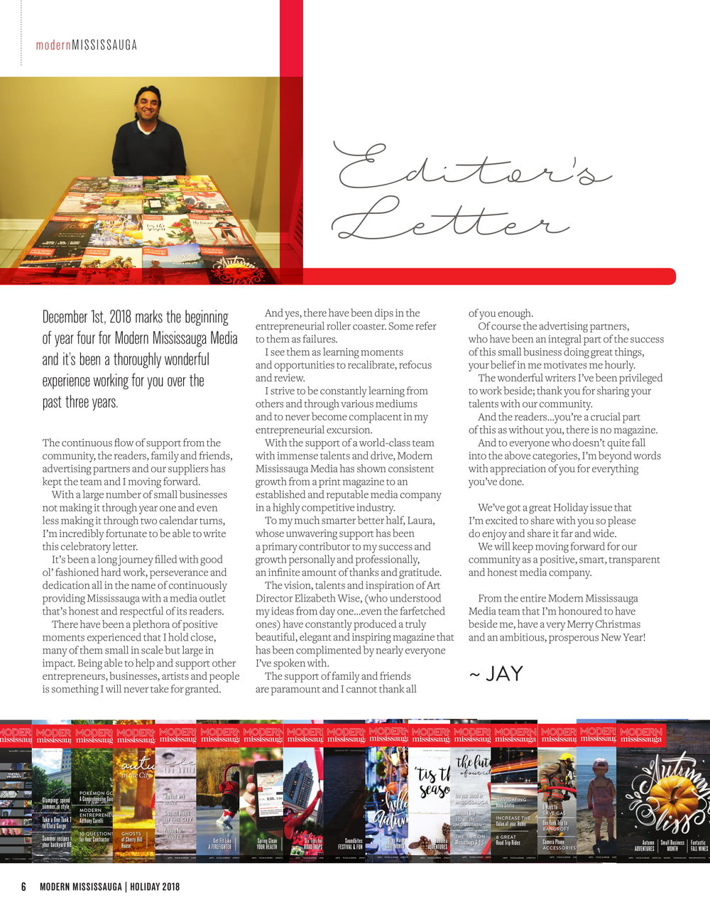 The editor's letter in the  2018 Holiday issue