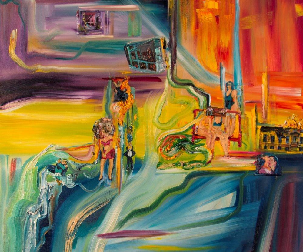 2. Virdi_Amrita Synergy (2017) Oil, Collage & Encaustic on Canvas 48x48 inches.jpg