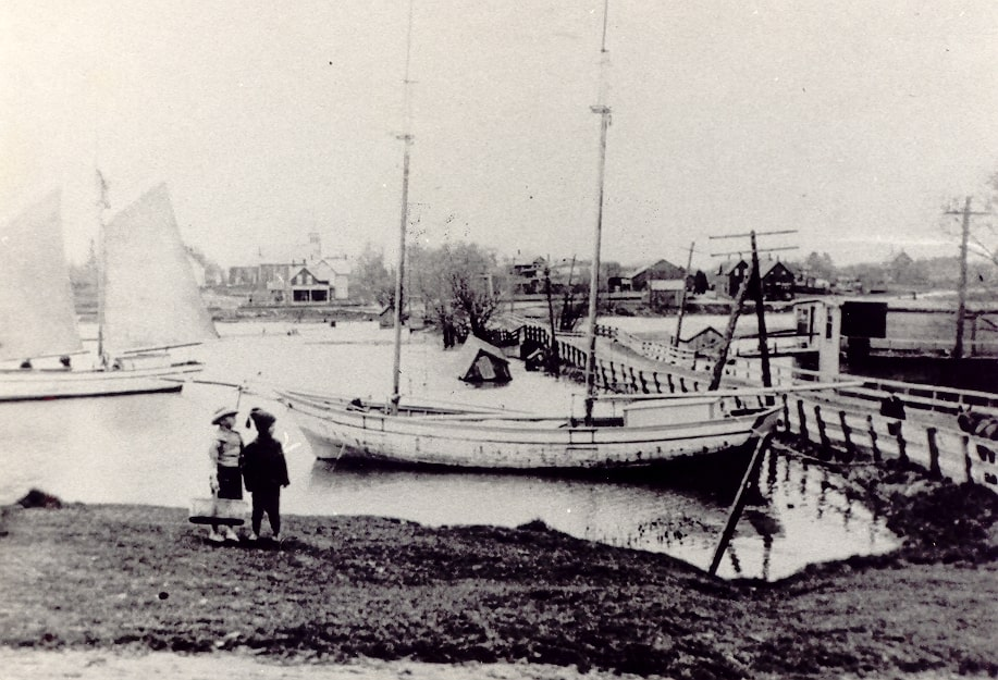 Port Credit Harbour Scene, Lakeshore Road bridge looking west, c1880.jpg