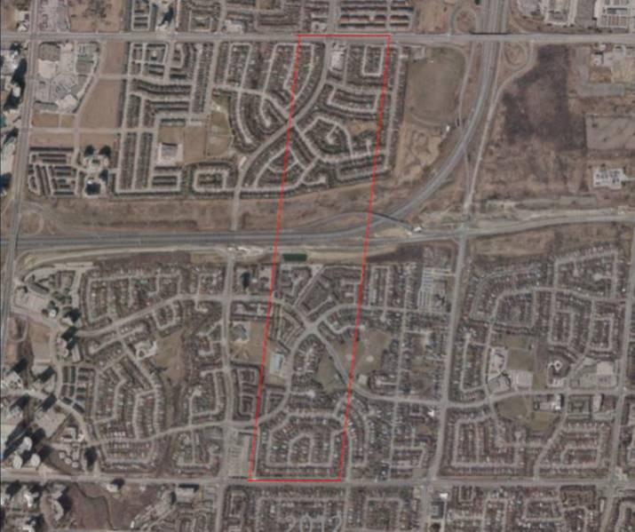 2015 aerial image showing outline of Cedar Park Farm on modern city.jpg