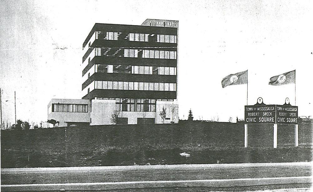 Mississauga City Hall and Robert Speck Civic Square, c1976.jpg