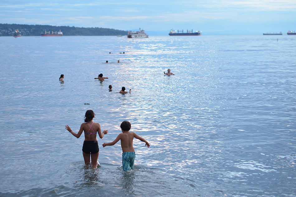Swimming in the ocean in Vancouver