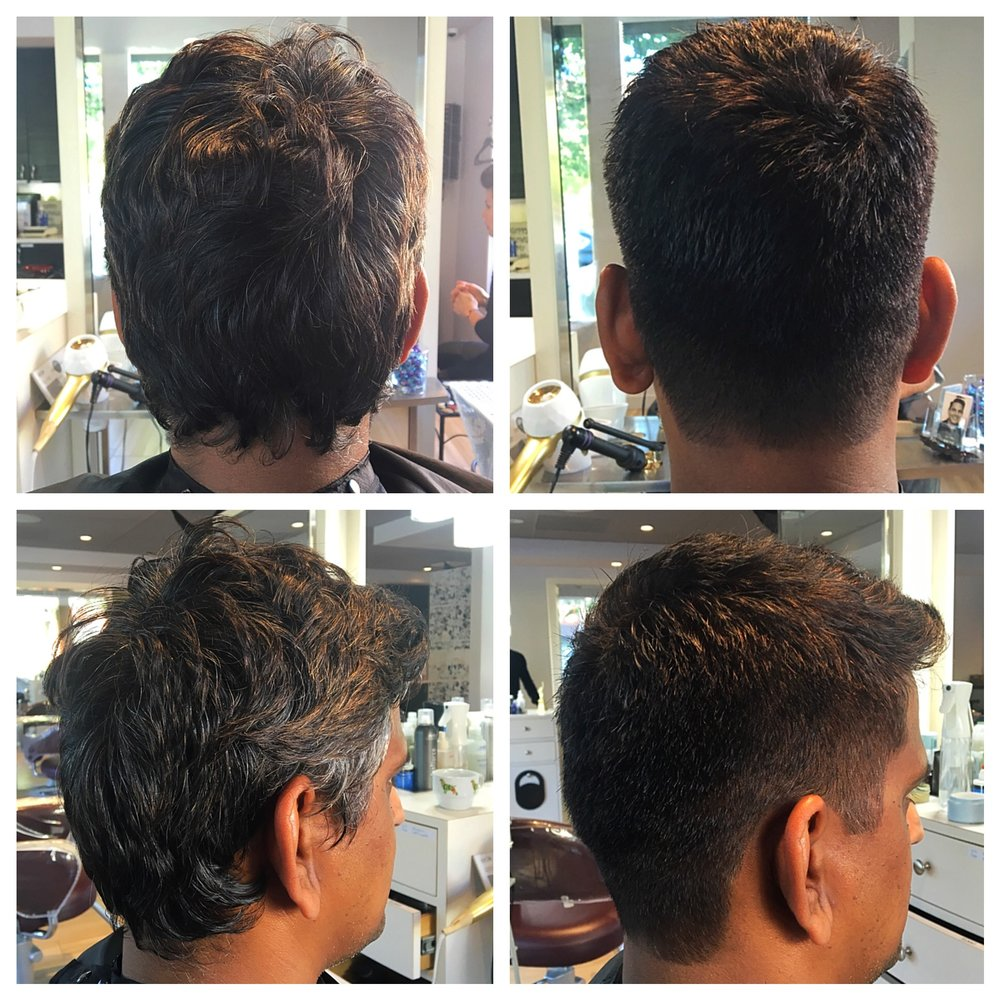 Gray Blending and Haircut - Men