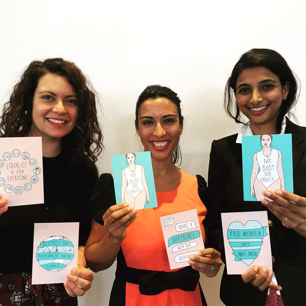 The EQI staff (from left) Kate Chapman, Dr Emma Fulu, and Nishighanda Boppana launching our new feminist postcards at the Prevalent and Preventable Conference.