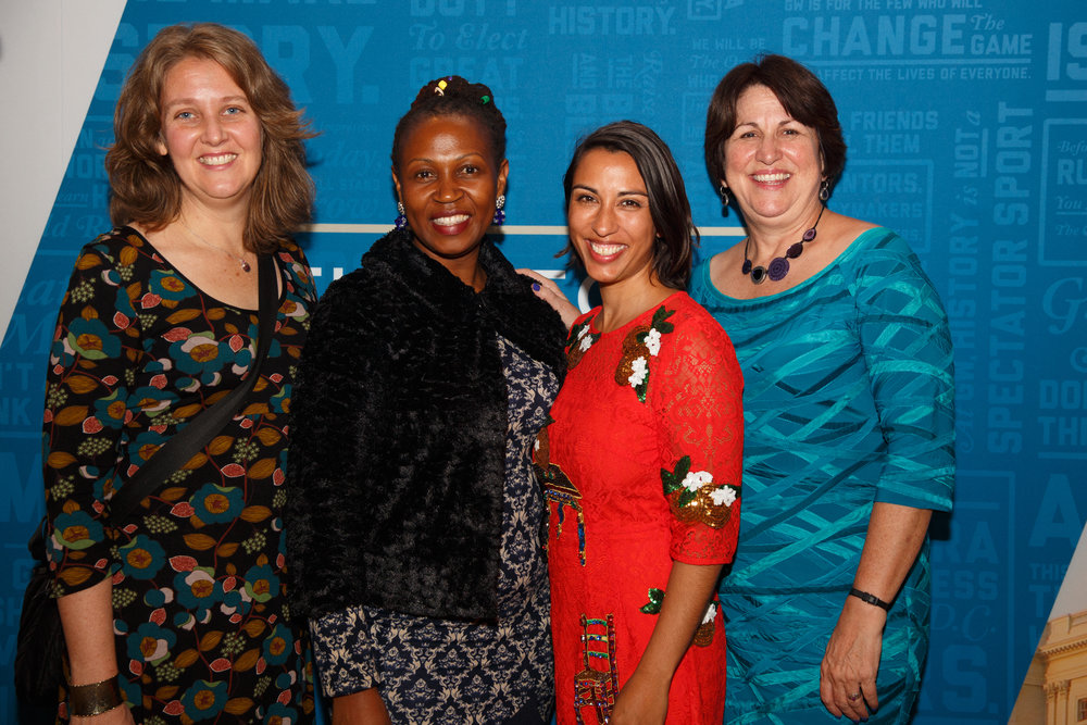 Co-Director of  Raising Voices  Lori Michau, Executive Director of the  Center for Domestic Violence Prevention  Tina Musuya, Director of  t  he Equality Institute   Dr Emma Fulu , and  Director of the  Global Women's Institute  Dr   Mary Ellsberg at t he Global Women's Institute Leadership Council Five Year Anniversary Celebration.  Photo: The Global Women's Institute