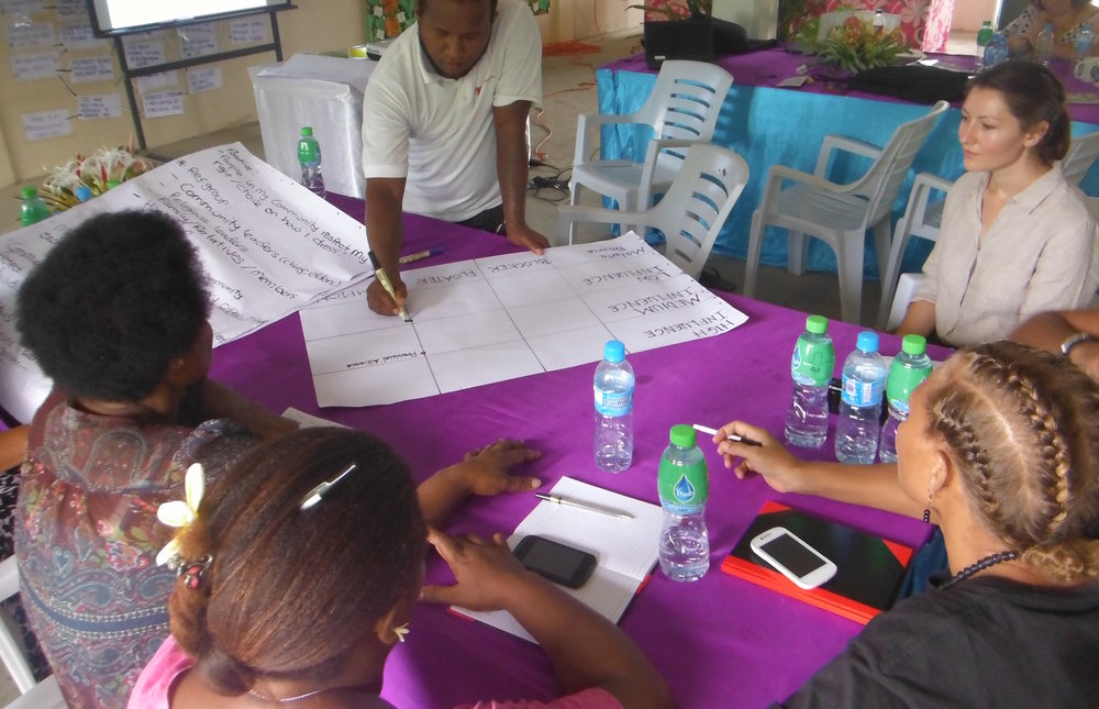 Marta Jasińska with Safe Families staff in Auki, Malaita Province, discussing campaigning for social norm change and identifying stakeholders.