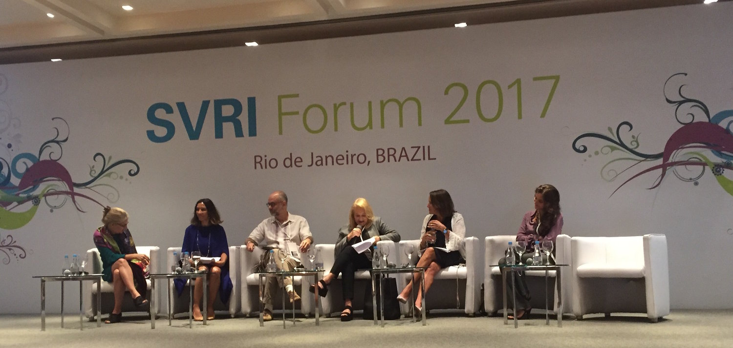 Sexual Violence Research Initiative Forum 2017 Opening Plenary panel: Claudia Garcia-Moreno, Dr Emma Fulu, Marcos Nascimento, Jacqueline Pitanguy, Colleen Varcoe, and Brisa De Angulo.