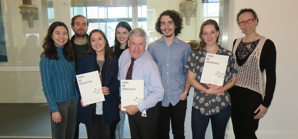 Emma, Bernard, Natasha, Abigail, Martin, Michael, Natassia and Bree, with copies of Here Be Dragons.