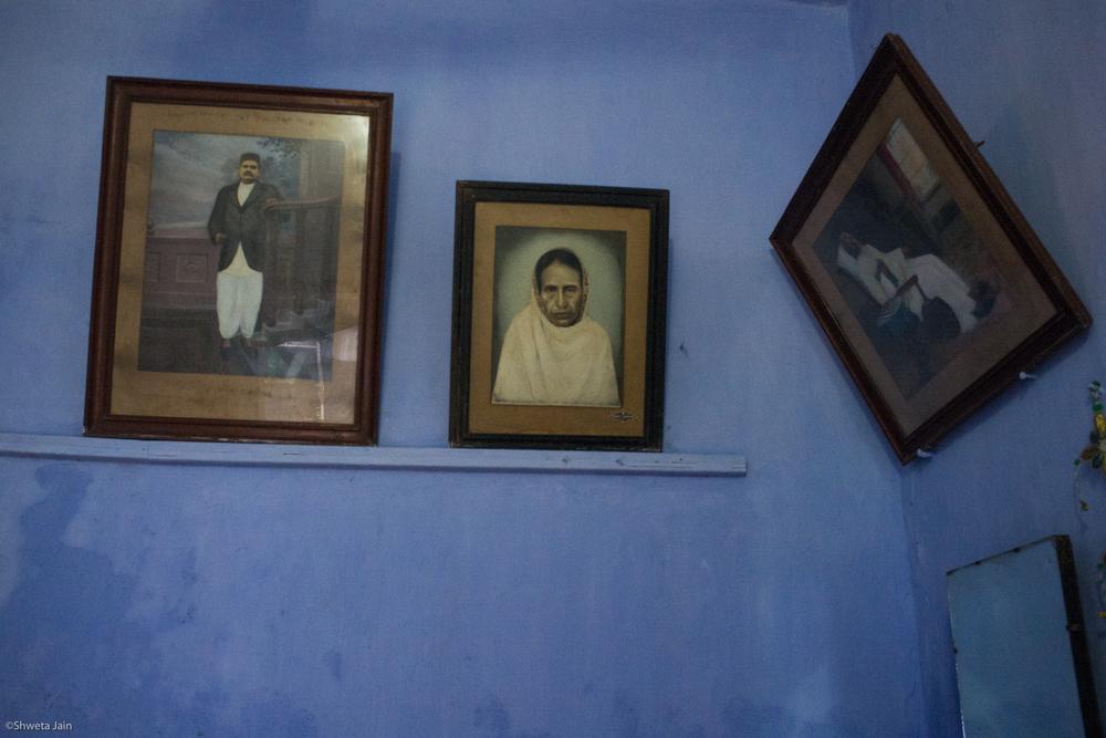Portraits of my ancestors for whom my maternal relatives performed 'Pind Daan' rituals.Gaya, Bihar,India. 2015