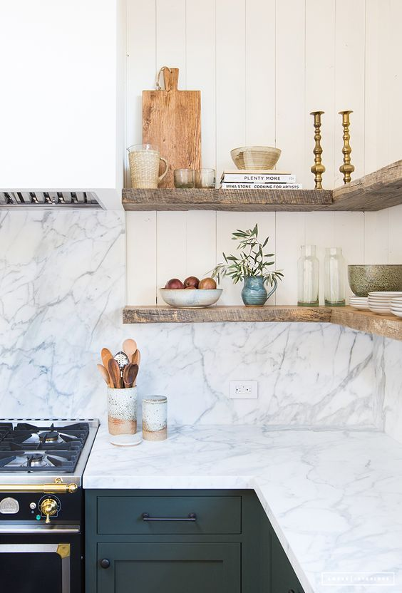 Design: Amber Interiors, Photography: Tessa Neustadt Countertops & Backsplash: Marble