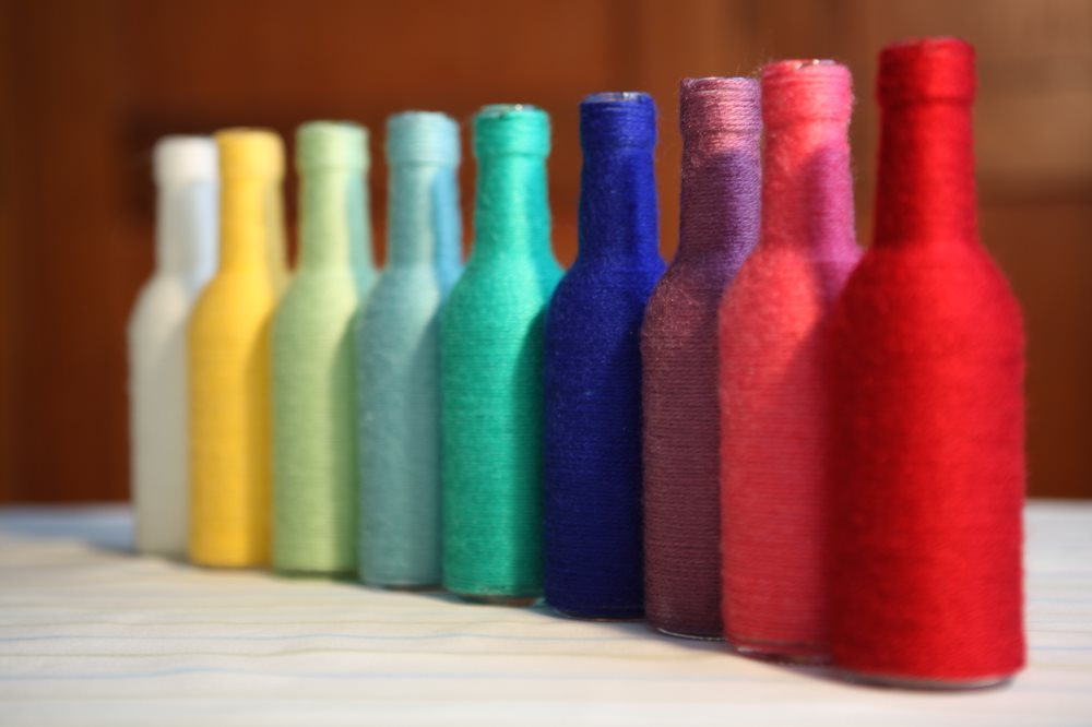 Coloured Wool Bottles