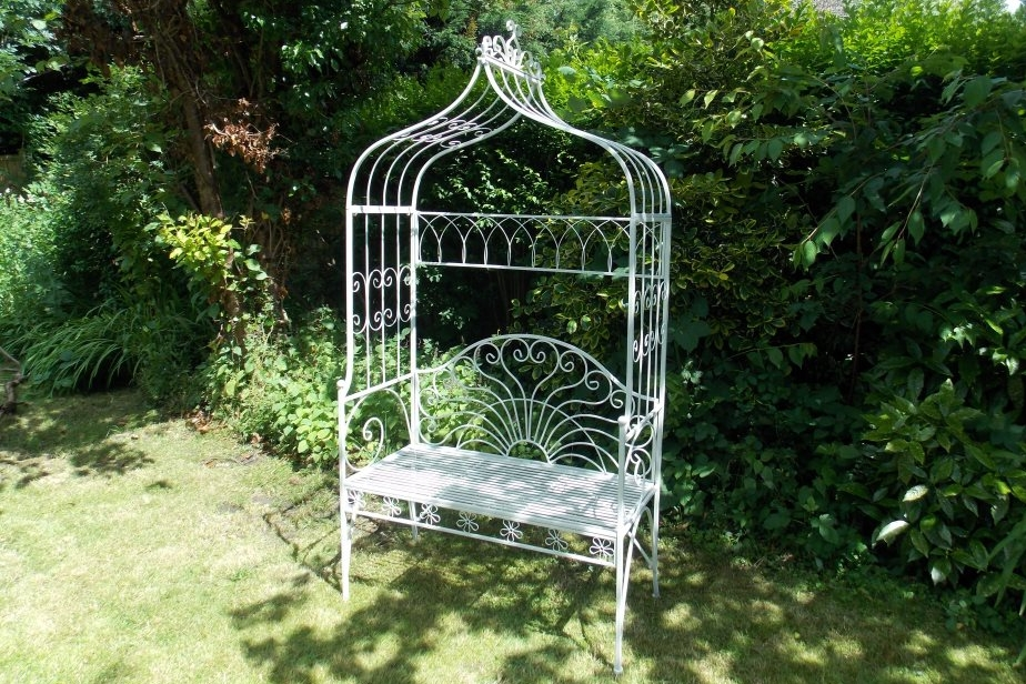 White Metal Bench