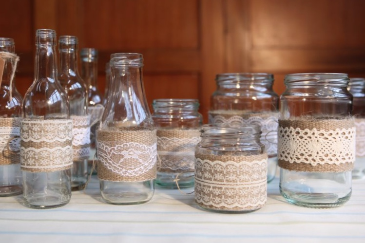 Hessian & Lace Bottles & Jars
