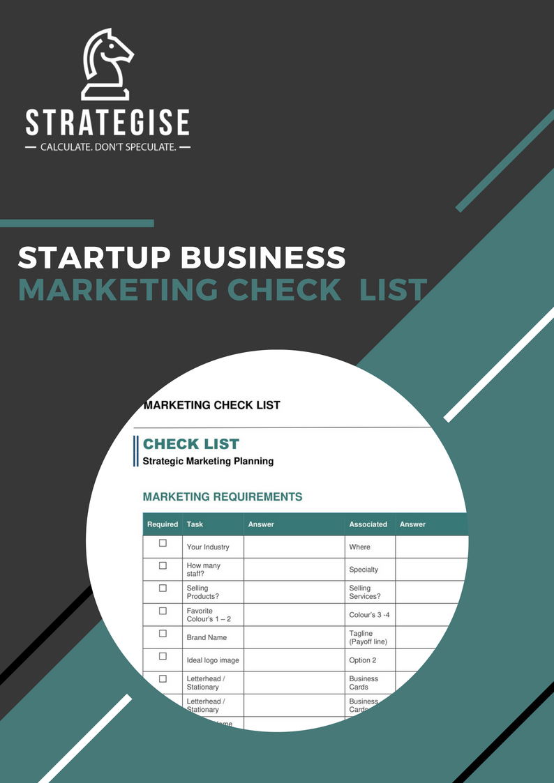 A StartupMarketing Checklist - Includes your focus area's: Logo, stationary, digital marketing and social media.Included is what you need for your first marketing strategy and marketing implementation plan.Removing the frustration so you can concentrate on the excitement of starting a new business.
