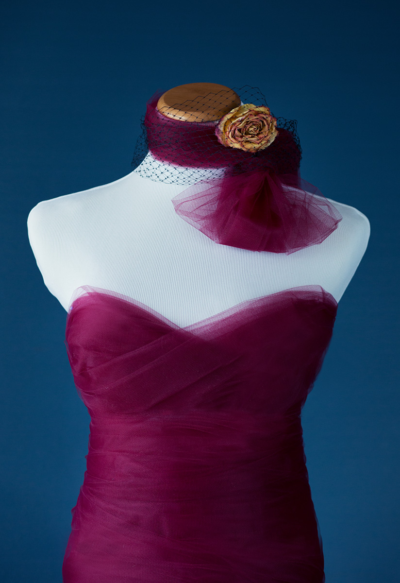Wine tulle wrap dress....neck piece with dried rose.  Anyone can wear this!  This neck wrap can be a fascinator for your hair too!