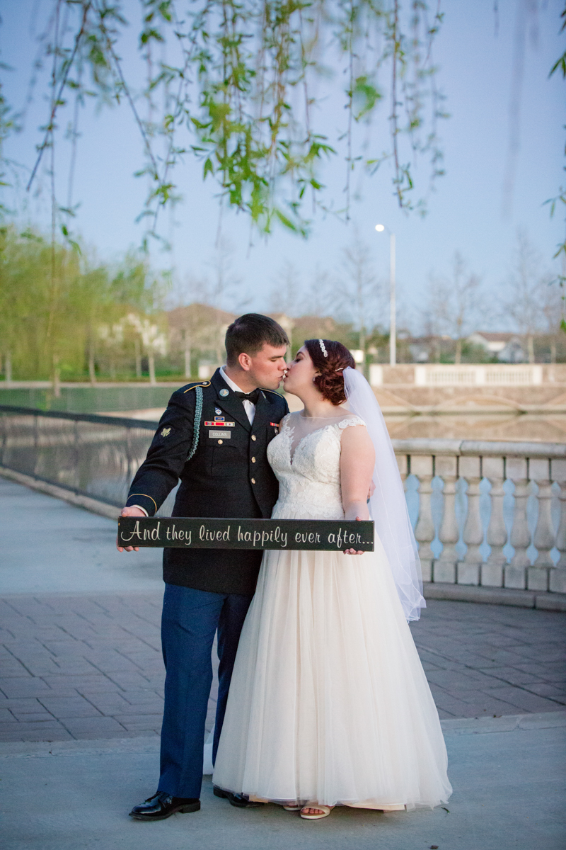 Lindsey and Joshua on their wedding day at the Bridgeway Lakes Boathouse in Sacramento, CA