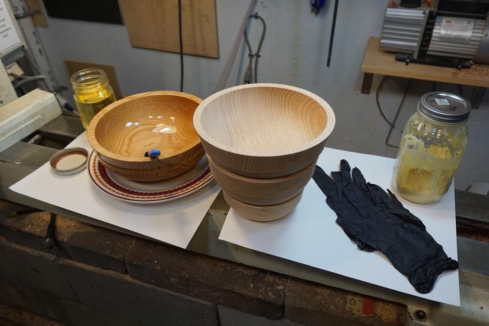 Finishing oak bowls