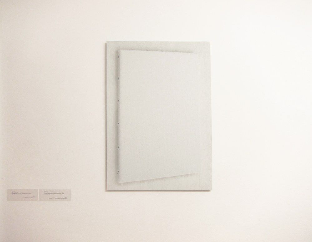 C-print, mounted on wood, Computer generated image of a blank white canvas hanging on a white wall 100 x 70 cm