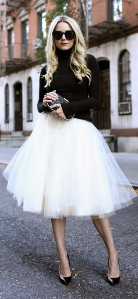 Turtleneck black sweater and white tutu skirt