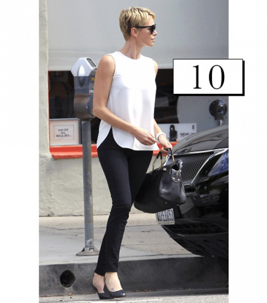 Streamlined look with a minimal white top and sleek black jeans