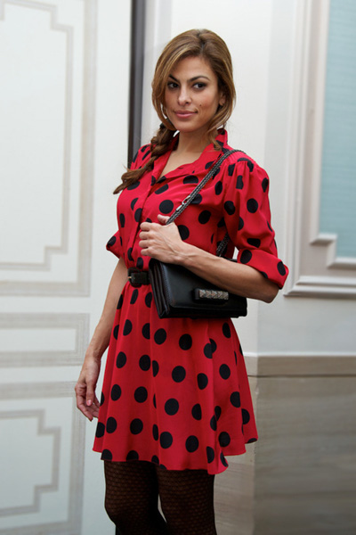 Retro red dress with black polka dots