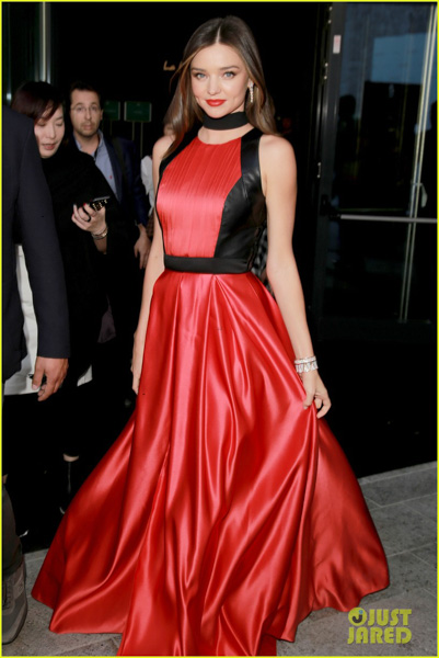 Red gown with sleek black choker