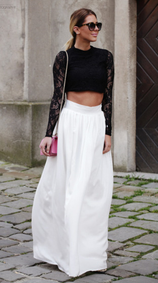 Black lace cropped top and white maxi skirt