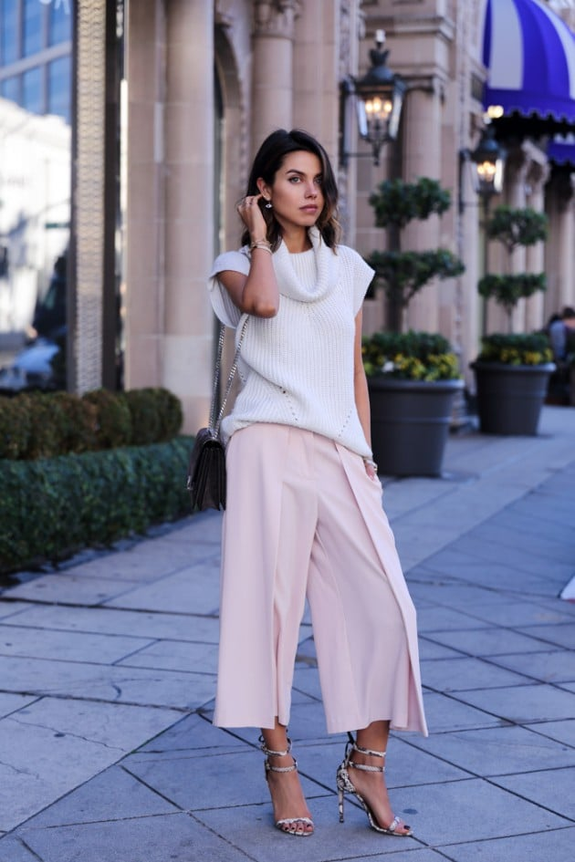 Light blue sweater and pink cropped wide leg pants