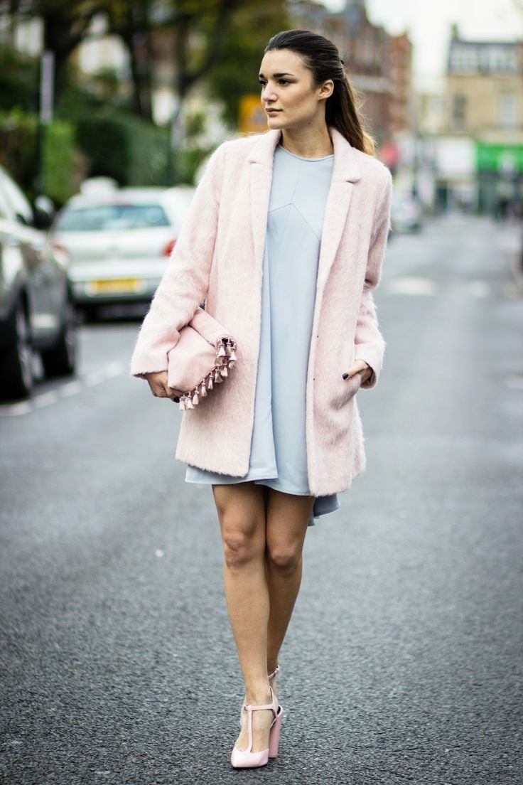 Light blue dress, and pink duster coat, handbag and pointed heels