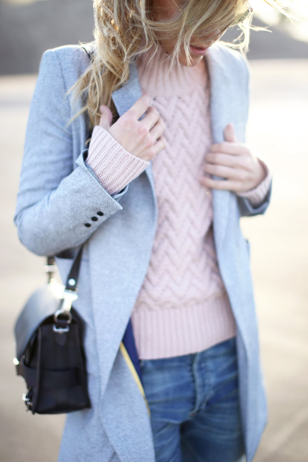 Pink chevron pattern sweater and the pale blue coat