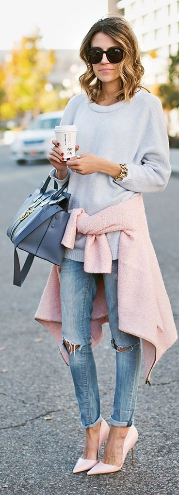 Baby blue jumper and pink