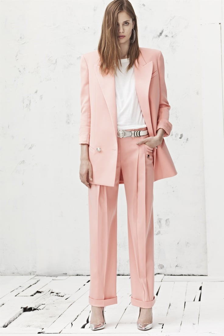 Pink blazer and pants with white tee underneath