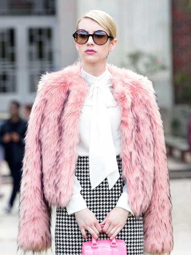 Pink fur coat and black & white monochrome