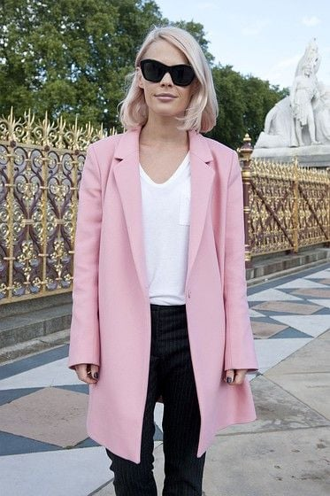 Pale pink overcoat and black & white