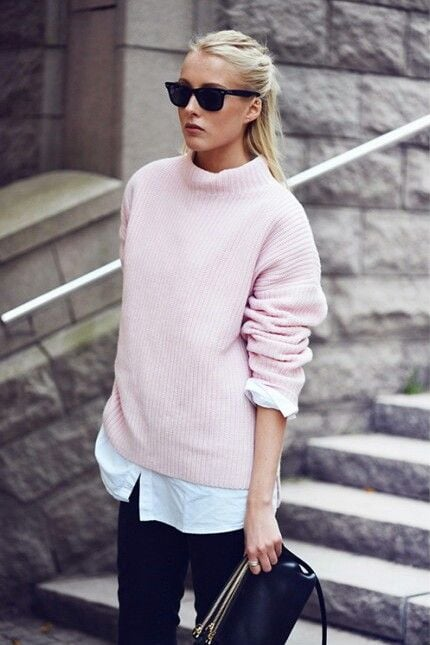 Pink sweater, black jeans and white shirt