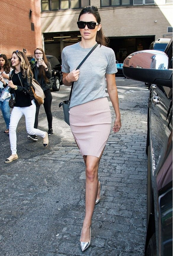 Gray tee with pale pink skirt and metallic heels