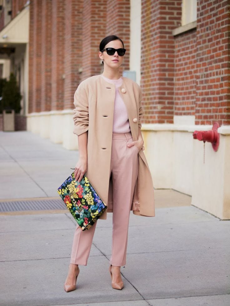 Different shades of pink and camel coat