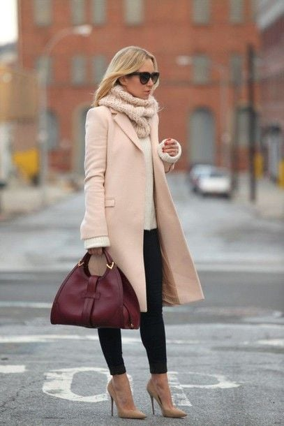 Pink coat and scarf with burgundy handbag
