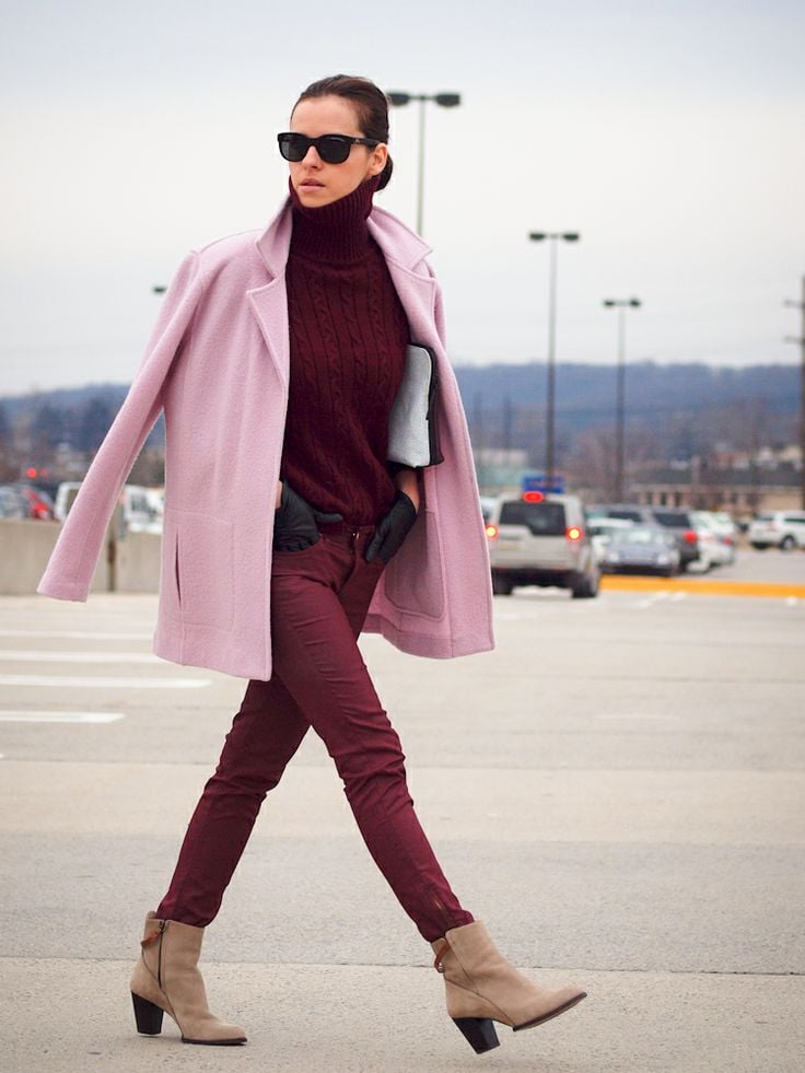 Burgundy and light pink in good combination