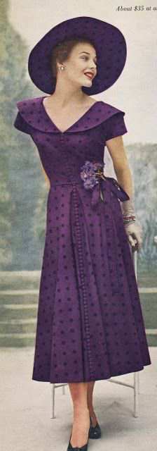 A gorgeous purple look from Dan River, appeared in a 1949 copy of Vogue