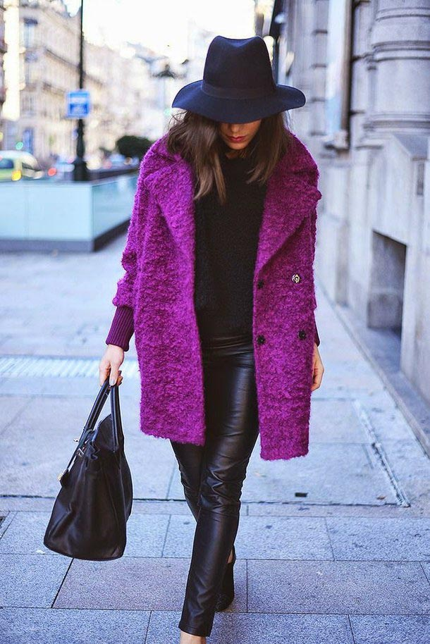 Purple coat and all other black